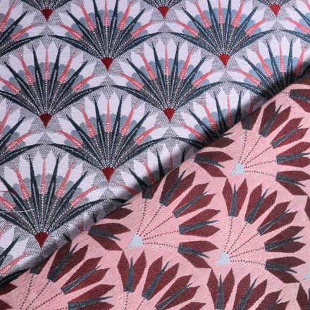 Tissu Jacquard Éventails gris et rose sur fond Gris - Par 10 cm