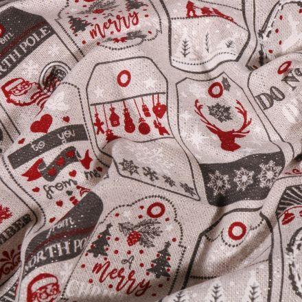 Tissu Toile Coton Cartes de noël pailletté sur fond Naturel - Par 10 cm