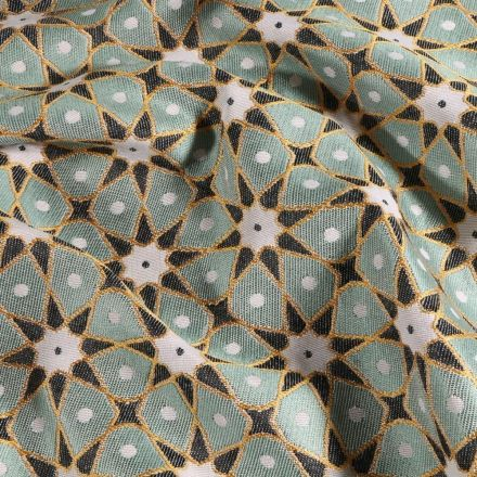 Tissu Toile jacquard Etoiles solaire sur fond Vert d'eau - Par 10 cm