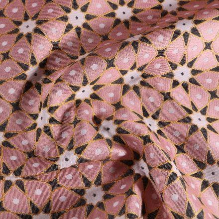 Tissu Toile jacquard Etoiles solaire sur fond Rose - Par 10 cm