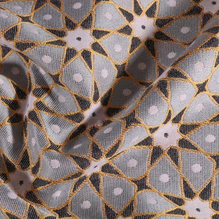 Tissu Toile jacquard Etoiles solaire sur fond Gris - Par 10 cm