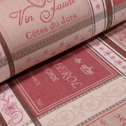 Tissu Toile jacquard Bar à vin sur fond Naturel - Par 10 cm