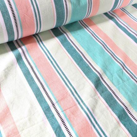 Tissu Toile Coton aspect lin Rayures colorés sur fond Vert menthe - Par 10 cm