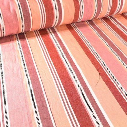 Tissu Toile Coton aspect lin Rayures terracota sur fond Rose - Par 10 cm
