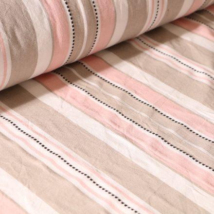 Tissu Toile Coton aspect lin Rayures roses et beiges sur fond Blanc - Par 10 cm
