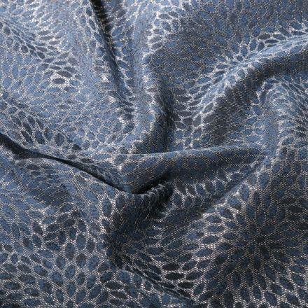Tissu Toile jacquard Rosace lurex argent sur fond Bleu denim - Par 10 cm