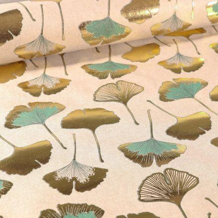 Tissu Toile Coton Feuilles de Gingko dorées et menthe sur fond Naturel - Par 10 cm