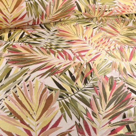 Tissu Toile jacquard Feuilles tropicales sur fond Blanc cassé - Par 10 cm