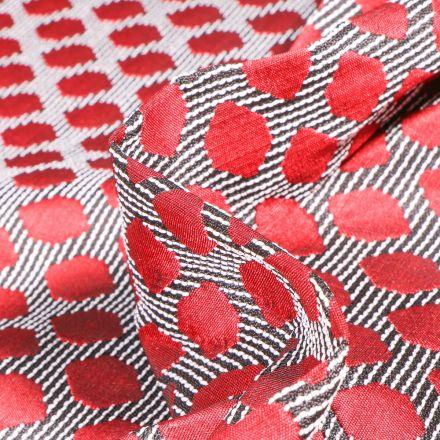 Tissu Jacquard Rayures noires et pois rouges sur fond Blanc