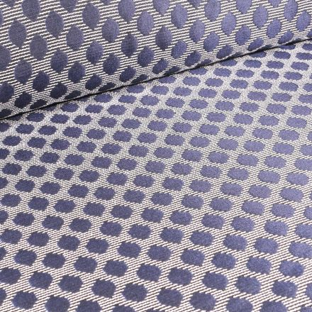 Tissu Jacquard Rayures noires pois bleus sur fond Blanc