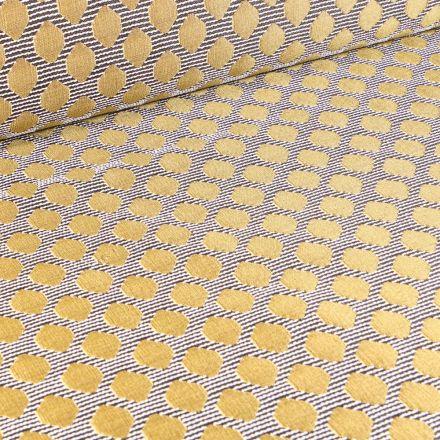 Tissu Jacquard Rayures noires pois dorés sur fond Blanc