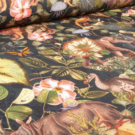 Tissu Toile de Coton Bachette Jardin extraordinaire sur fond Noir