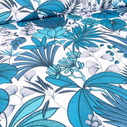 Tissu Toile de Coton Feuilles et fleurs exotiques sur fond Blanc