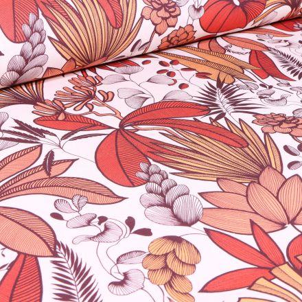 Tissu Coton imprimé Arty Feuilles de palmier terracotta sur fond Blanc