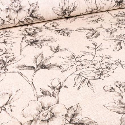 Tissu Toile de Lin Esquisse fleuris sur fond Naturel