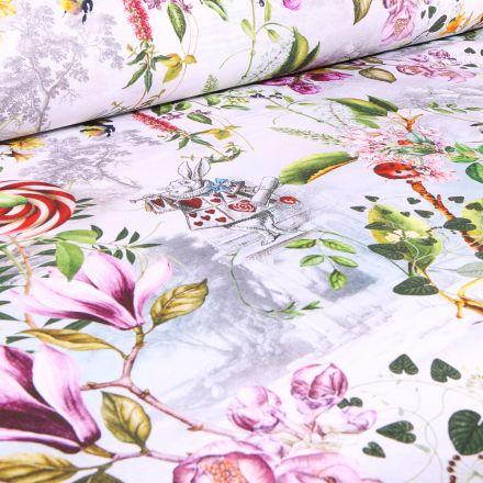 Tissu Coton imprimé Arty Alice au pays des merveilles sur fond Blanc