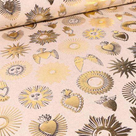 Tissu Toile de Coton Astres métallisés sur fond Naturel