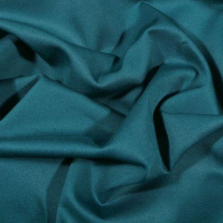 Tissu Coton Sergé uni Bleu pétrole - Par 10 cm