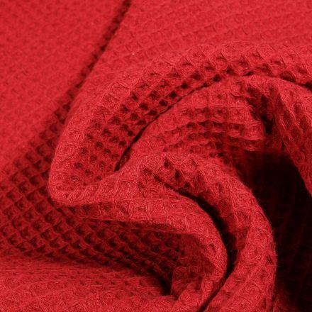 Tissu Nid d'abeille Rouge griotte