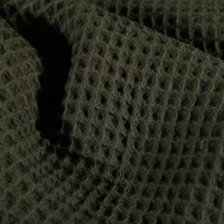 Tissu Nid d'abeille  Vert kaki foncé - Par 10 cm