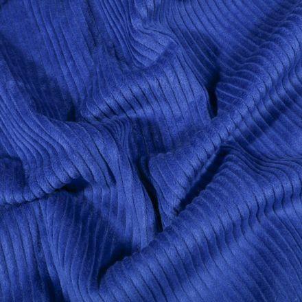 Tissu Velours côtelé uni Bleu roi - Par 10 cm