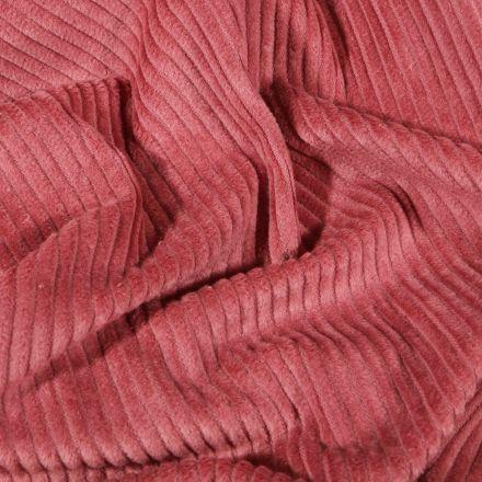 Tissu Velours côtelé uni Vieux rose - Par 10 cm