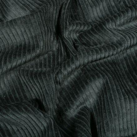 Tissu Velours côtelé uni Vert foncé - Par 10 cm