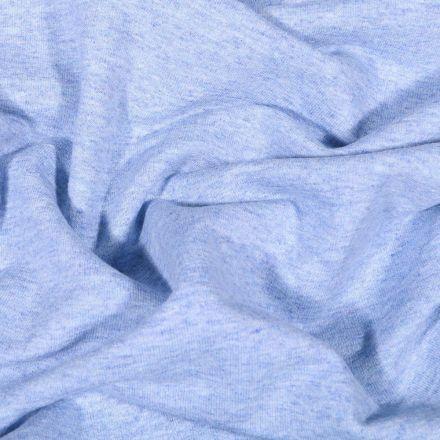Tissu Sweat léger uni chiné Bleu ciel - Par 10 cm