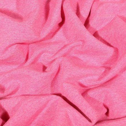 Tissu Sweat léger uni chiné Rose bonbon - Par 10 cm