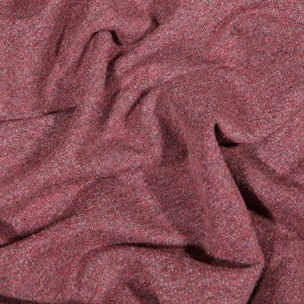 Tissu Sweat léger uni chiné Bordeaux - Par 10 cm