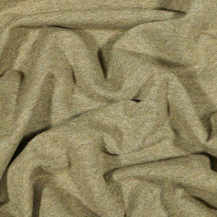 Tissu Sweat léger uni chiné Vert kaki clair - Par 10 cm