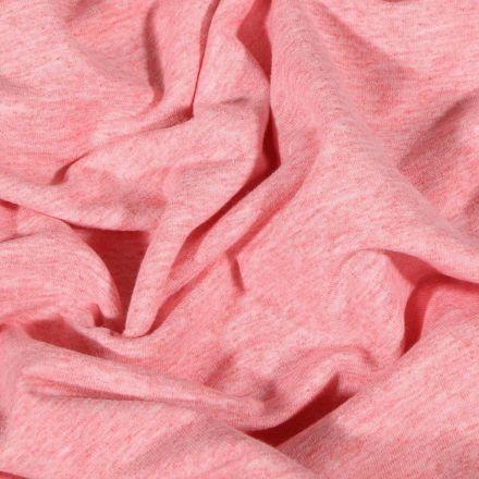 Tissu Sweat léger uni chiné Rose bébé - Par 10 cm