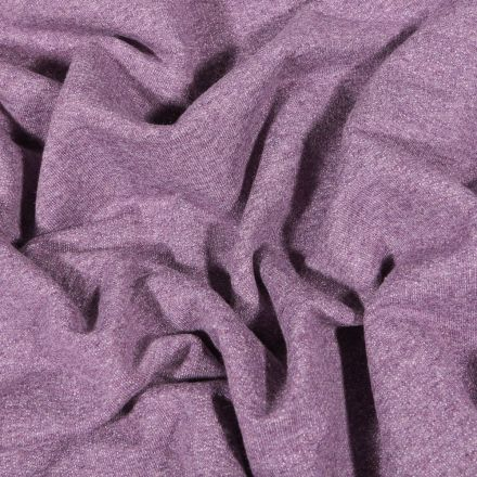 Tissu Sweat léger uni chiné Violet - Par 10 cm