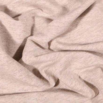 Tissu Sweat léger uni chiné Beige sable - Par 10 cm
