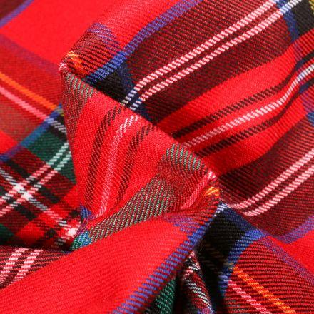 Tissu Tartan Ecossais  Georges sur fond Rouge