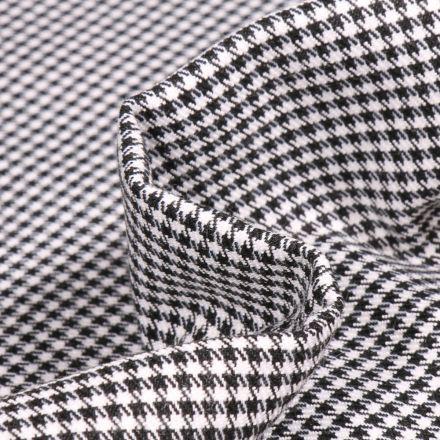 Tissu Tartan écossais Owen Pied de poule noir sur fond Blanc