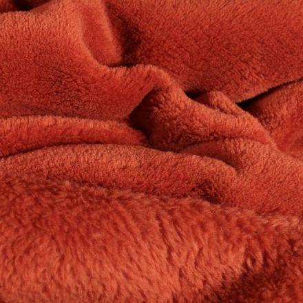 Tissu Doudou uni Rouille - Par 10 cm