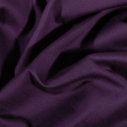Tissu Popeline de coton Uni Violet foncé - Par 10 cm