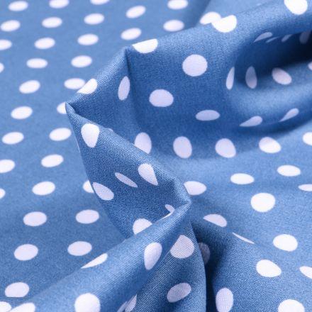 Tissu Coton imprimé Pois blanc sur fond Bleu marine - Par 10 cm
