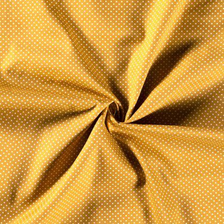 Tissu Coton imprimé Petits pois blancs sur fond Jaune - Par 10 cm