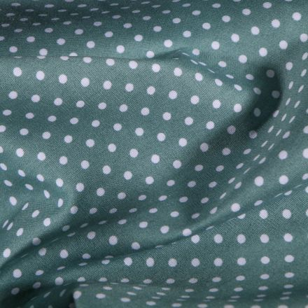Tissu Coton imprimé Petits pois blancs sur fond Vert d'eau - Par 10 cm