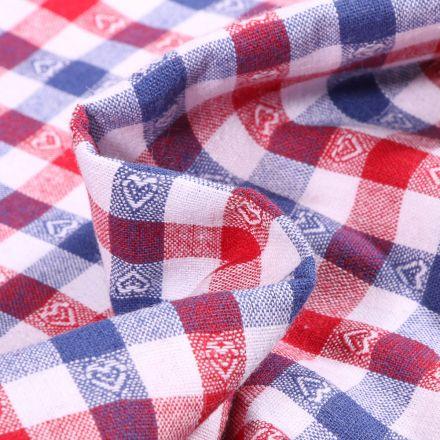 Tissu Vichy jacquard Cœurs rouges et bleus sur fond Blanc
