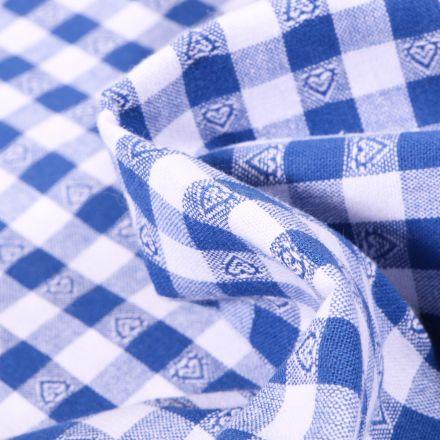 Tissu Vichy Cœurs bleu roi sur fond Blanc