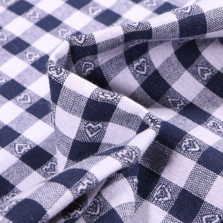 Tissu Vichy jacquard Cœurs bleu marine sur fond Blanc