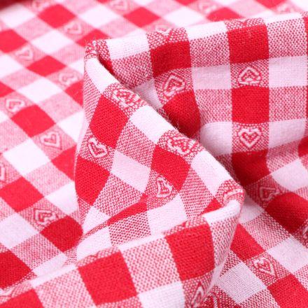 Tissu Vichy jacquard Cœurs rouges sur fond Blanc