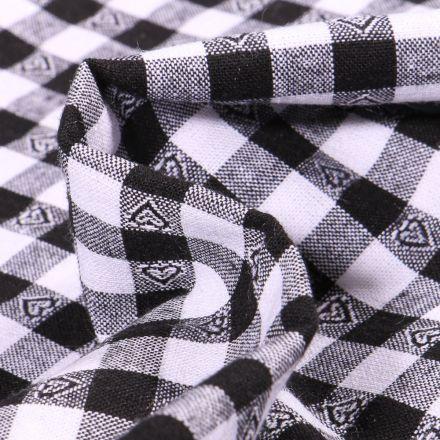 Tissu Vichy jacquard Cœurs noirs sur fond Blanc