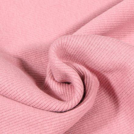 Tissu Bord côte uni Rose blush