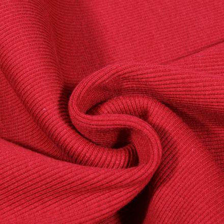 Tissu Bord côte uni Rouge griotte