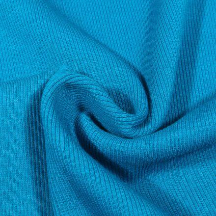 Tissu Bord côte uni Bleu cyan