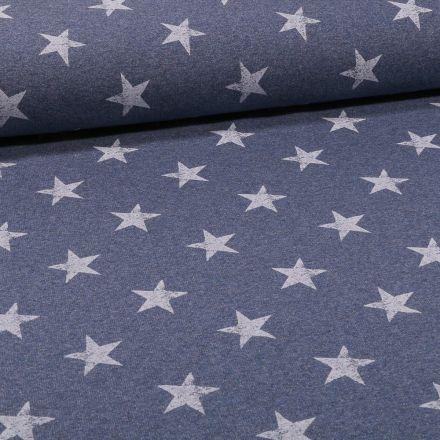 Tissu Jersey coton envers gratté Etoiles sur fond Bleu chiné - Par 10 cm